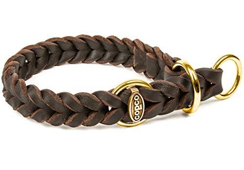 CopcoPet - Fettlederhalsband geflochten mit Messing Zugstop-Ring, Braun 30-35 cm x 15 mm Hunde Halsband