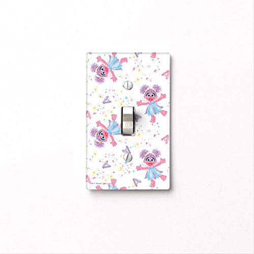 1-Gang Wall Plate Cover, Single Toggle Switch Cover Abby Cadabby Sparkle Pattern Classic Beadboard Unbreakable Faceplate