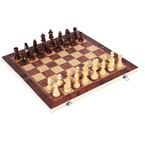 Ohomr Scacchi pieghevoli 3 in 1 con scacchiera grande per principianti Scacchi da viaggio portatili Giochi da tavolo Set di scacchi per bambini e adulti - 34 * 34 cm