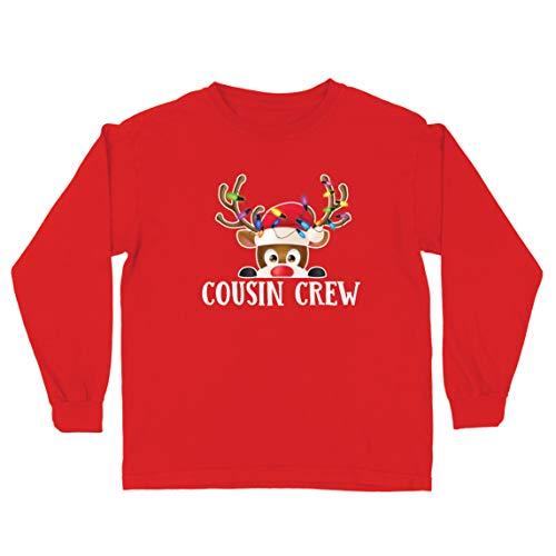 lepni.me Camiseta para Niño/Niña Un Primo de la pandilla se Divierte con los Renos en Navidad (7-8 Years Rojo Multicolor)