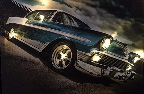 Samarkand-Lights LED-Bild mit Beleuchtung LED- Bilder Leinwandbild 65 x 45 cm Leuchtbild US CAR/Muscle CAR/Oldtimer