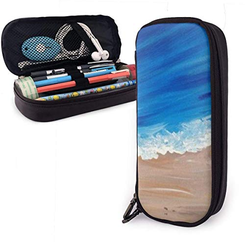 Starfish Beach Ocean Leather Pencil Case with Zipper,8 X 3.5 X 1.5 Inch PU Leather Pencil Holder Pen Case Pouch
