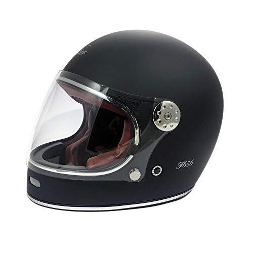 CASCHI Moto - Viper F656 Casco in Fibra di Vetro Nuovi Vintage Stile Casco Moto Integrale Touring Casco Sportivi ECE Approvato Classic Bobber Casco Retro Classic Chopper (Nero Opaco,XS)