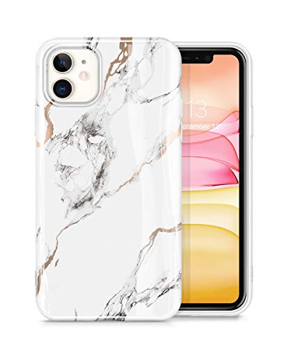 GVIEWIN Marble iPhone 11 Case, Ultra Slim Thin Glossy Soft TPU Rubber Gel Phone Case Cover Compatible iPhone 11 6.1 Inch 2019 (White/Gold)