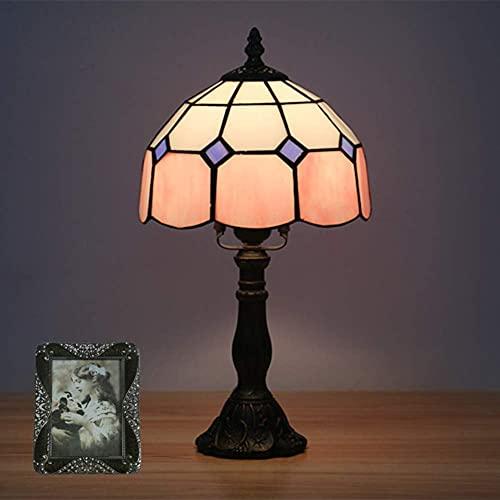 MUZIDP Lámpara de Mesa Tiffany, Retro Easy 15 Pulgadas de Escritorio Grande lámpara de Cristal...