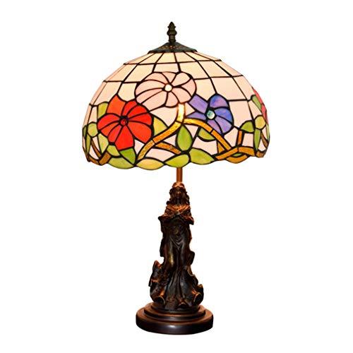 LBZJD Tischlampe Glasmalerei Pastoral Art Schlafzimmer Nachttischlampe Mediterraner Stil Tischdeko Beleuchtung Wohnzimmer europäischen Stil Jahrgang Luxuxwohnzimmer