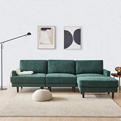 belupai - Divano moderno in tessuto, a forma di L, 3 posti, con ottomana, 266 cm, colore: smeraldo