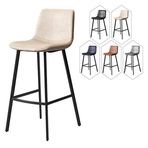 LHDQ Barstol barstolar frukost matstolar för köksö-bänk hög stol, med sittplats/svarta metallben, sitthöjd 65/75 cm, beige, sitthöjd: 75 cm