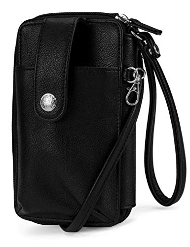 MUNDI Jacqui Vegan Leather RFID Womens Crossbody Cell Phone Purse Holder Wallet ((Black))