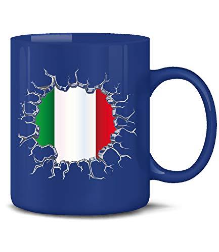 Golebros Italien Italia Italy Fan Artikel 5726 Fuss Ball Europa World Cup EM 2020 WM 2022 Kaffee Tasse Becher Geschenk Ideen Fahne Flagge Blau