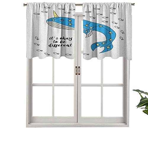 Blackout Valance Window Curtain Hand Drawn Whale Sketch with Horn Star Pattern Swimming, Set of 2, 54'x36' for Indoor Living Dining Room Bedroom