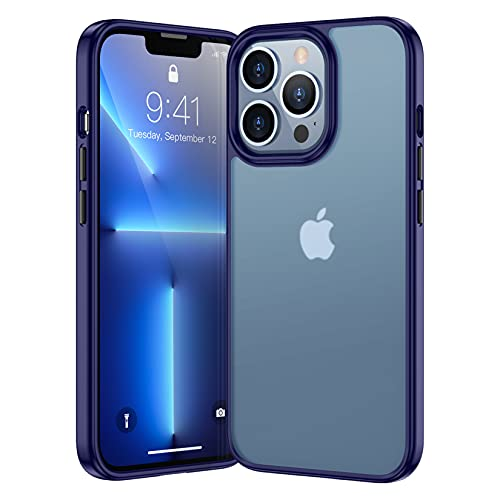 SPIDERCASE Matt Series Hülle Compatible with iPhone 13 Pro Max Hülle, [6.7 Inches] [Military Drop Protection] Non-Slip Anti-Fingerprint Hard PC Back and Soft Silicone Bumper Mobile Phone Hülle (blau)