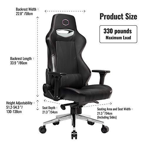 Cooler Master Caliber X1 Gaming Chair for Computer Game, Office and Racing Style Gamer, Comfy Ergonomic 360° Swivel Reclining High Back Chairs with Armrest Backrest Headrest Lumbar Support PU Leather