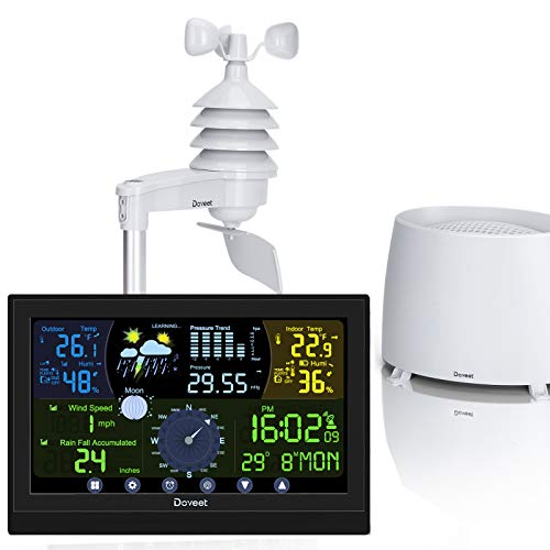 DOVEET Weather Station with Outdoor Sensors, Wireless Weather Stations with Rain Gauge, Wind Speed Gauge, Weather Forecast, Air Pressure, Indoor Outdoor Temperature & Humidity, Moon Phase, Alarm Clock
