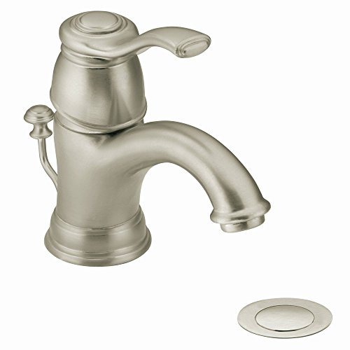 Moen 6102BN Kingsley One-Handle Traditional Bathroom Sink Faucet with Available Vessel Sink Extension Kit, Brushed Nickel