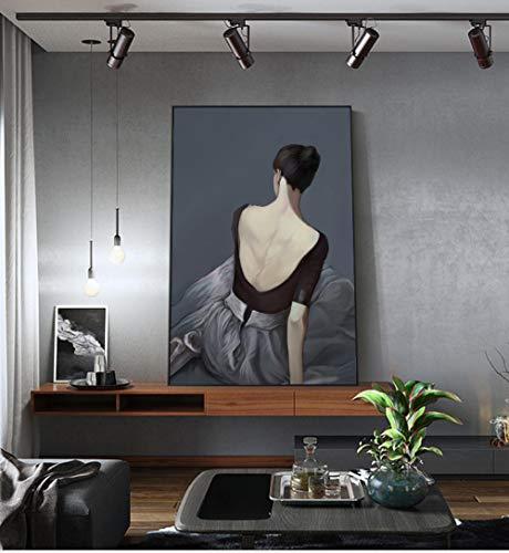 RuYun abstracte witte balletjurk meisjes poster print moderne zwarte strakke rok muurschildering voor woonkamer Scandinavische mooie vrouwen schilderen geen lijst B 40x60cm