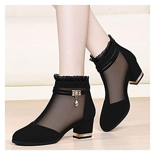 JinHongShop Malla de Verano Peep Toe Sandalias Tacones Sexy Zapatos para Mujeres Zapatos de Mujeres en Europa América 2021 Primavera Bombas de Verano Gauze Mujer HHQIYUAN