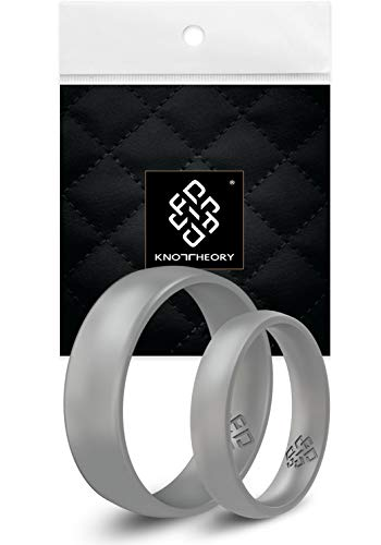 Knot Theory Silikon Hochzeitsring Ring/Ehering für Männer und Frauen in Glattes Silber - Bequeme Passform Größe 21.5 (6mm Ringbreite) (US-Größe...
