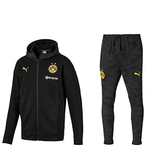 PUMA BVB Fanartikel Borussia Dortmund Casuals Sweat Trainingsanzug 19/20, Größe:L