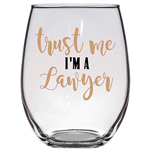 Copa de vino Trust Me I'm a Lawyer, 11 oz, Copa de vino de abogado, grado de la escuela de derecho, divertido vaso de vino, regalo de abogado, copa de vino de abogado