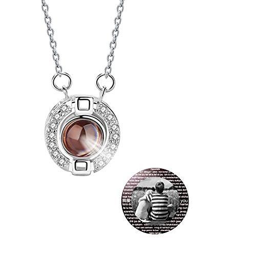 hjsadgasd Fotoprojektionskette mit 100 Sprachen Liebesbekenntnis Stein 925 Sterling Silber Anhänger Halskette
