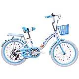 LQ&XL Btt Bicicleta Plegable niño 18' Bike Plegable Unisex Aluminio Urban Bici Ligera Estudiante Folding City Bike,sillin Confort Ajustables,6 Velocidad,Capacidad 150kg / Blue / 24in