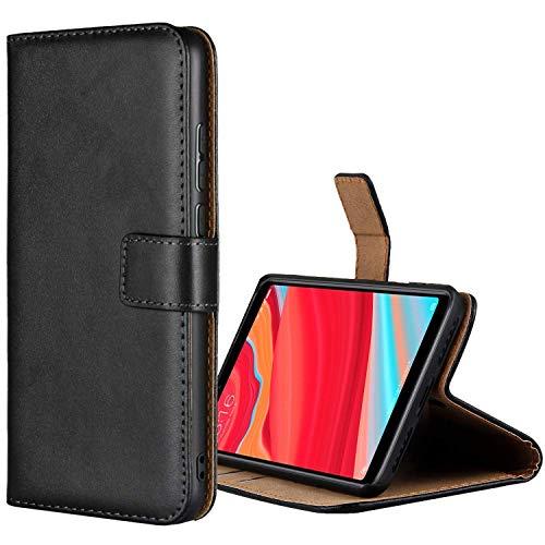 Aopan Xiaomi Redmi S2 Funda, Flip Funda de Cuero Genuina Piel Carcasa para Xiaomi Redmi S2, Negro
