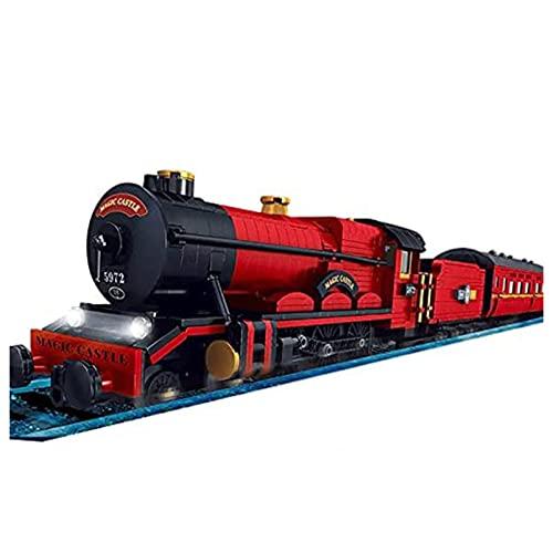 HANHJ Bloque Construcción Ferrocarril Tren,Bloque Construcción Locomotora Tren Control Remoto 2.4Ghz / App RC,con Juego Rieles Iluminación,Bloque 2086+ PiezasVIIPOO,Red