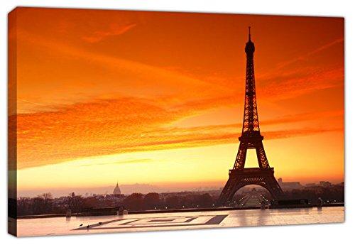 Art_Depot_Outlet Torre Eiffel in Bright Orange Sunrise + tela opere d' arte immagine, Orange, A1+ - Size 52cm x 87cm