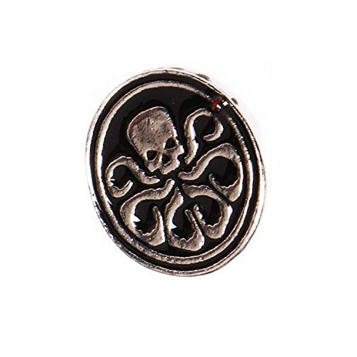 Brooch Marvel SHIELD Hydra Logo Octopus Skeleton Pattern Black Round Enamel Brooch Pin