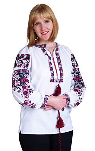Gestickte ukrainische Folkbluse aus natürlicher Baumwolle, traditioneller Ethno-Stil Gr. M, weiß