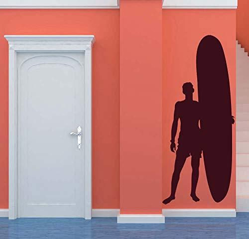 Surfer Surf Board Surf Wall Art Ocean Decal Sea Sticker Coastal Vinyl Dude Beach Bum Home Bedroom Kid S Dorm Nursery Decor Made In Usa Home Kitchen