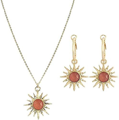 SHIERSHIYI Necklace Fashion Women S Necklace Earrings 2 in 1 Colorful Stone Sun Shaped Pendant Necklace