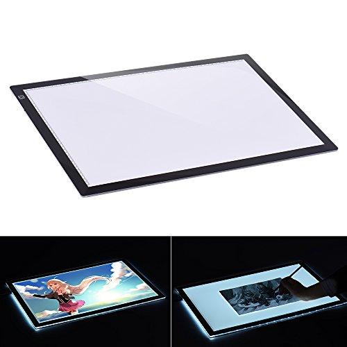 Aibecy Leuchttisch, A2 LED Leuchtkasten, 7.7mm Ultra Dünn Leuchtplatte, Einstellbare Helligkeit, Dimmbare Leuchtrahmen mit EU Ladegerät für Handwerk Animations Malerei (A2)
