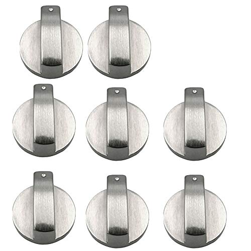 Bestine Cooker Knobs,6mm Silver Metal Gas Stove Knobs Stove Replacement Knobs Accessories for Kitchen Gas Oven Stove Hob Knobs(8,6MM)