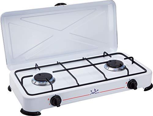 Jata CC705 Cocina de Gas para Camping con 2 Quemadores Con Tapa...