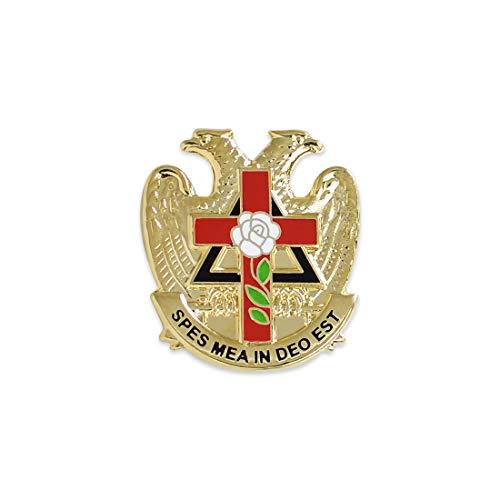 32nd Degree Rose Croix Cross Masonic Lapel Pin - [Gold & Red][7/8'' Tall]