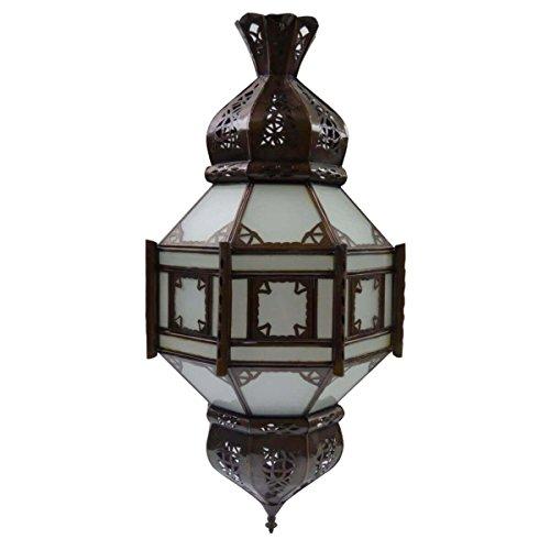 Orientalische Lampe Palast Laterne Hängelampe marokkanische Deckenlampe Hänge Leuchte Deckenleuchte Orient TEMPEL 60 cm Color Weiß