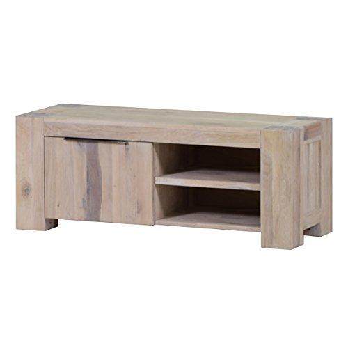 MÖBEL IDEAL TV Lowboard Schrank Anrichte 130 cm Massivholz Eiche massiv Massivholz White Wash Breite 130 cm Tiefe 48 cm Höhe 50 cm