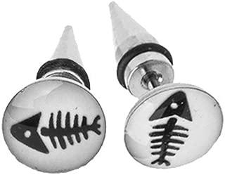 Fake Tapers Glow in The Dark Fish Skeleton Earrings 16 Gauge Studs Taper 0G Gauges Look Pair