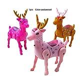 Juguete eléctrico Ciervo para Caminar Juguete Correa Ciervo Ciervo eléctrico Plástico Luminoso Música Juguete Correa Ciervo Pull Line Deer Toy (Color Aleatorio) -BCVBFGCXVB