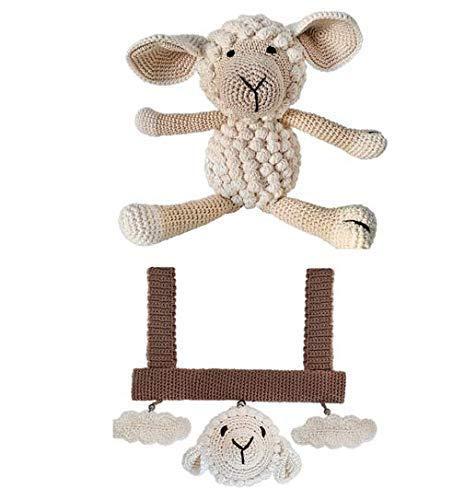 LOOP BABY - Geschenkset Baby: Spielbogen für Babyschale & großes gehäkeltes Schaf aus Bio-Baumwolle - Geschenk für Geburt, Babyshower, Taufe