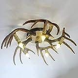 XH&XH Modern American Country Retro Antlers E14 Lámpara de Techo Restaurante Cuerno de Ciervo Luces de Techo Luces de Estudio Lámparas de terraza Dormitorio Resina Creativa Pasillo Araña Decoració