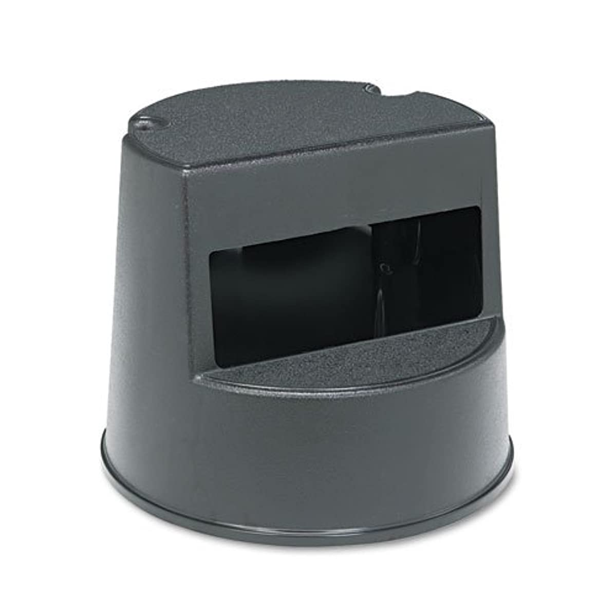 RCP2523BLA - Rubbermaid Rolling Step Stool, Curved, Retracting Casters, 16 Dia. X 13h, Black
