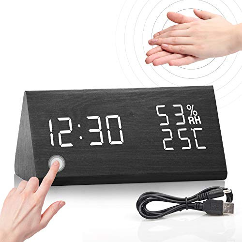 Jubliss Wecker Digital LED Wecker Uhr Holz, Digitalwecker Tischuhr mit Sprachsteuerung/Datum/Temperatur/Luftfeuchtigkeit, Digitaler Wecker mit USB-Ladeanschluss für Schlafzimmer, Büro und Nacht Kinder