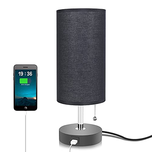 Black Table Lamp with USB Charging Port, Seealle Bedside Nightstand Lamp with Black Fabric Lampshade, Pull Chain, Wooden Base ,Convenient Pull Chain for Bedroom Living Room