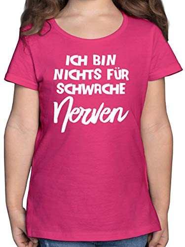 Sprüche Kind - Ich Bin Nichts für schwache Nerven Comic - 140 (9/11 Jahre) - Fuchsia - Rundhals - F131K - Mädchen Kinder T-Shirt