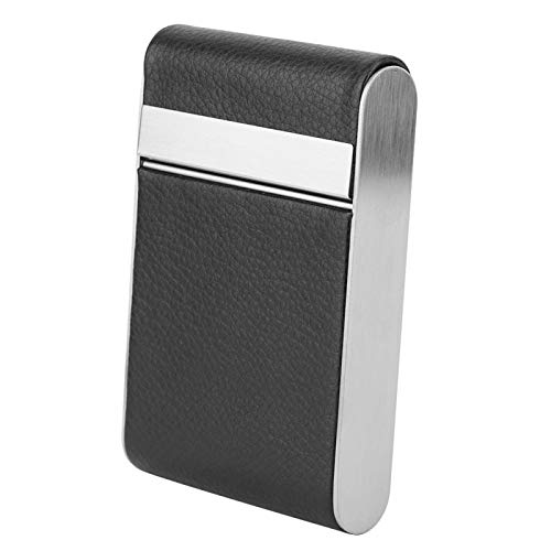 Plyisty Storage Box Hold 20 Cigarettes Stainless Steel Smoker Women Cigar Case, Smoking Accessories, Leather Cigarette Case Food Storage Cigarette Accessories, for Smoker for for Yourself(Black)