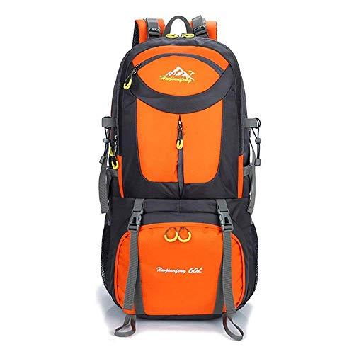 BRUCEWANGハイキングバックパックナイロン防水大容量バックパックアウトドアスポーツ旅行釣りライディングスキークライミングキャンプ登山 男女兼用 (50L, オレンジ)