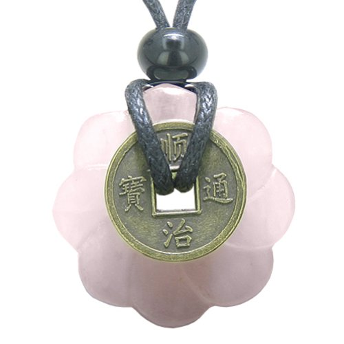 Lucky Coin Celtic Lotus Flower Amulet Love Power Rose Quartz 30mm Donut Pendant Necklace